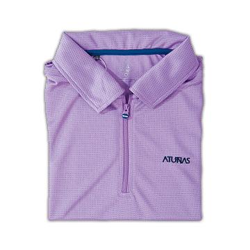 歐都納抗UV排汗衣Atunas-Tex女款短袖POLO衫(紫/深藍)-S