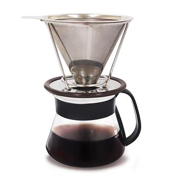手沖不鏽鋼濾杯+玻璃咖啡壺組