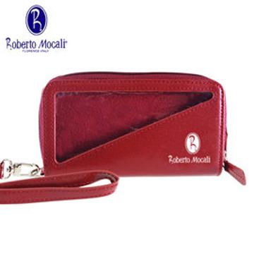 義大利Roberto Mocali手機袋/雙拉鋉手拿包-紅RM-8109R-1