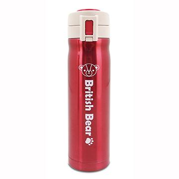 英國熊304不鏽鋼彈蓋保溫瓶500ml-紅