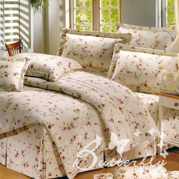 BUTTERFLY加大清新花海雙人四件式40支紗純棉兩用被床包組-米
