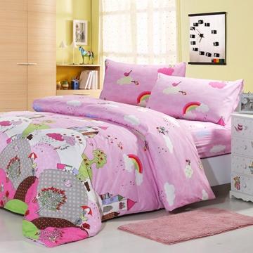 幸福預兆 雙人印花四件式涼被床包組