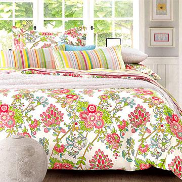 【呢喃花語】 雙人純棉床包鋪棉兩用被套四件組