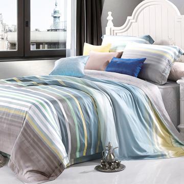 悠藍夢境 天絲雙人四件式床包兩用被組