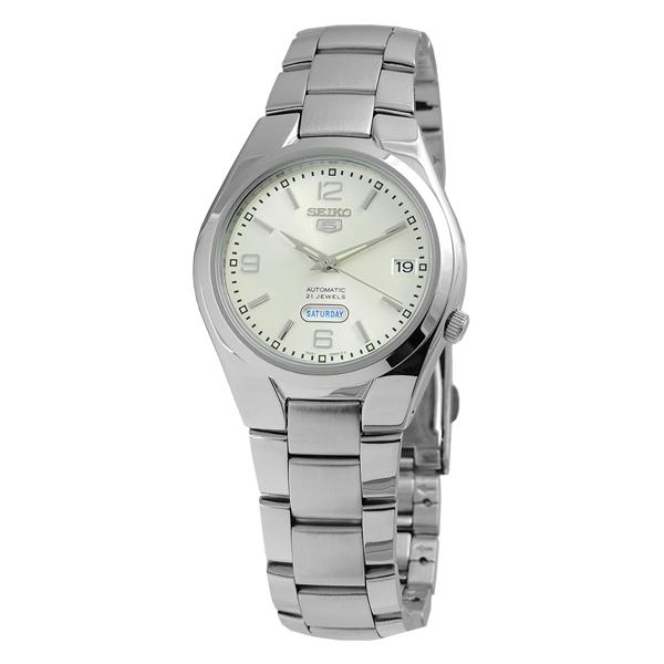 SEIKO精工5號盾牌尊爵機械腕錶(銀白)SNK 619