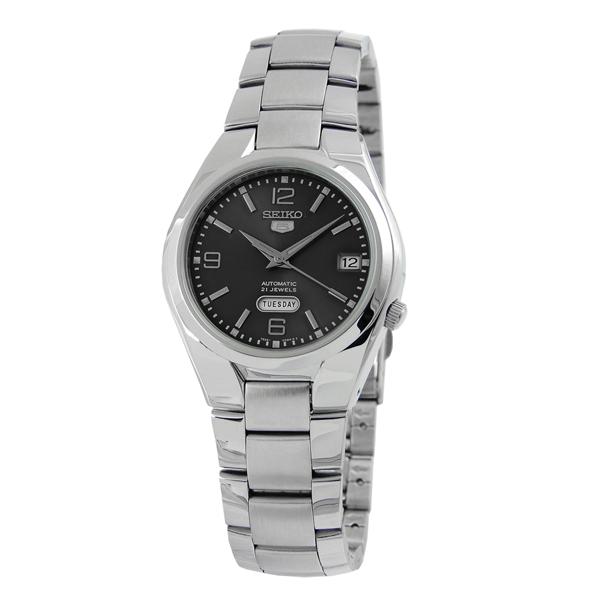 SEIKO精工5號盾牌尊爵機械腕錶(黑)SNK 623