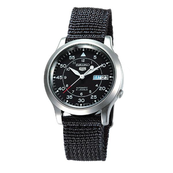 SEIKO精工5號野戰帆布機械錶(黑)