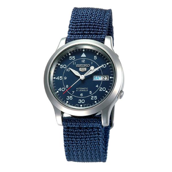 SEIKO精工5號野戰帆布機械錶(藍)