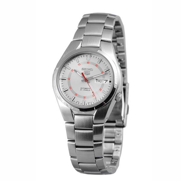 SEIKO精工5號盾牌雅痞機械腕錶SNK613-銀白