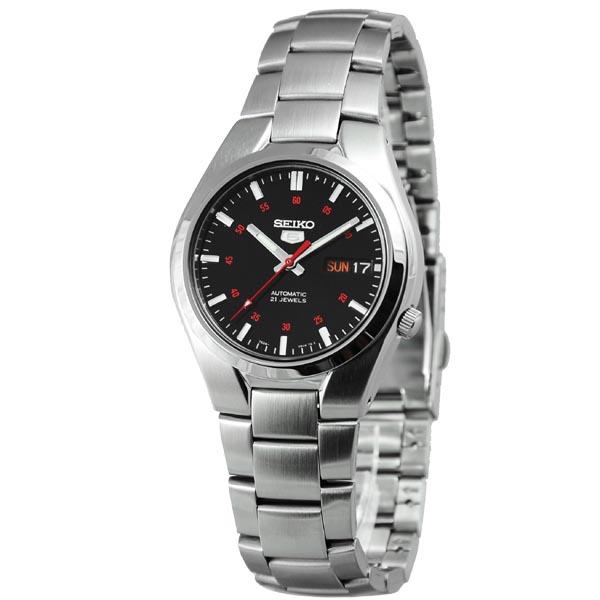 SEIKO精工5號盾牌雅痞機械腕錶SNK617-黑