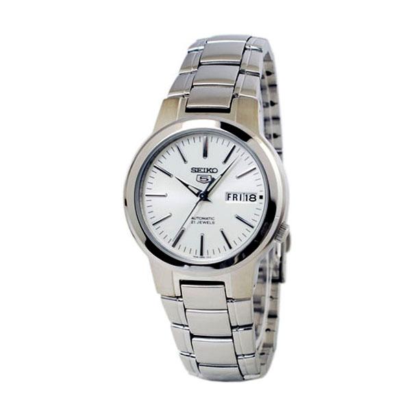 SEIKO精工5號盾牌簡約機械腕錶SNKA01-銀白