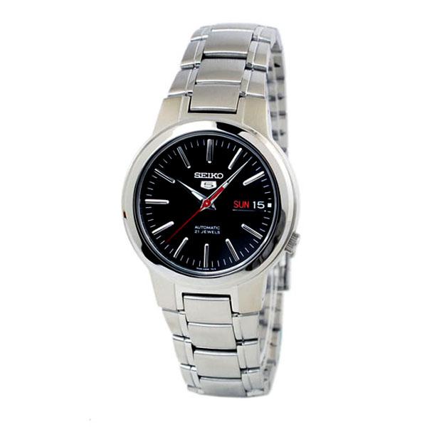 SEIKO精工5號盾牌-簡約機械腕錶SNKA07-黑面
