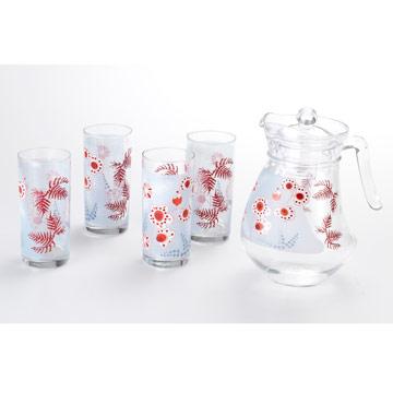 法國Luminarc樂美雅1壺4杯-鳳仙花