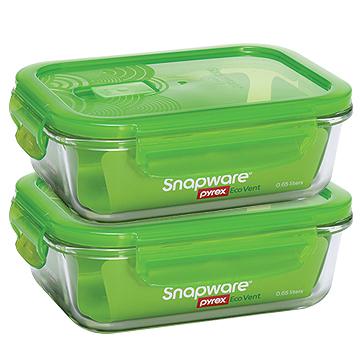 康寧密扣耐熱玻璃保鮮盒(1組/2入)