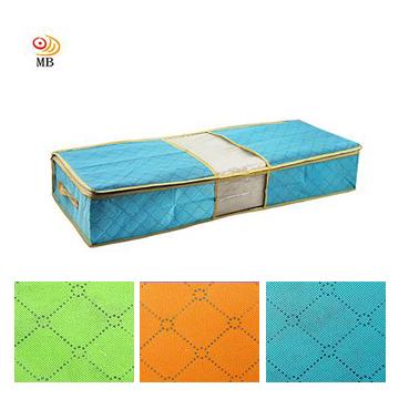 月陽85X40竹炭彩色透明視窗床下棉被衣物收納袋整理箱-藍(C70L)