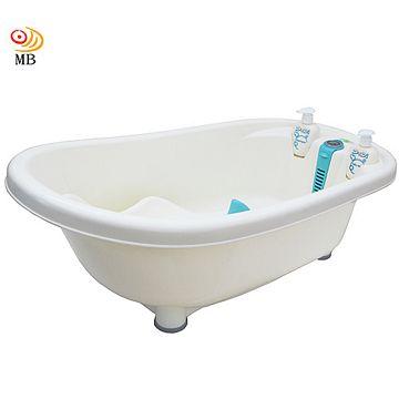 月陽仿真測溫嬰幼兒浴缸洗澡盆浴盆附躺椅沐浴瓶-藍(DB-6707)