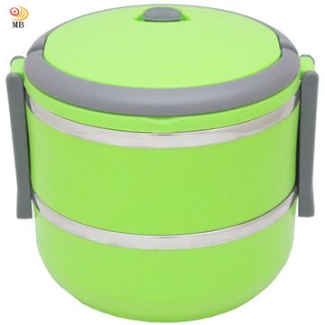 月陽圓形15cm雙層保溫不鏽鋼便當盒飯盒(9567)-綠色