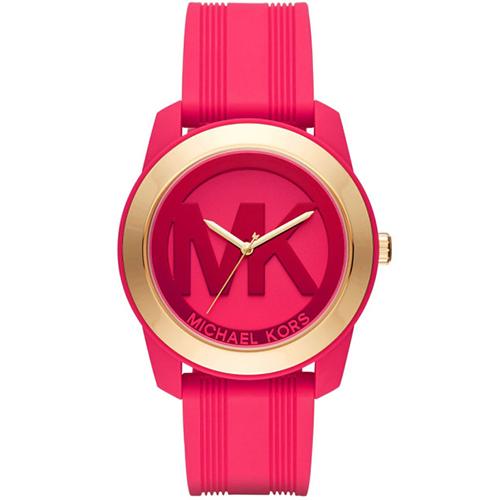 Michael Kors Preston 大MK 桃紅矽膠錶帶手錶
