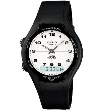 CASIO卡西歐‧經典指針雙顯錶AW-90H-7B