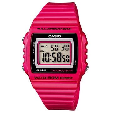 CASIO大螢幕方形數字運動錶-紅-215H-4A