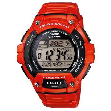 CASIO .太陽能戶外休閒運動錶-紅W-S220C-4A
