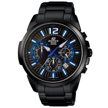 CASIO EDIFICE.精準三眼賽車腕錶(黑色離子IP)EFR-535BK-1A2