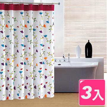 【御工匠】時尚高級浴簾組*2+加厚伸縮浴簾桿*1(超值3入)