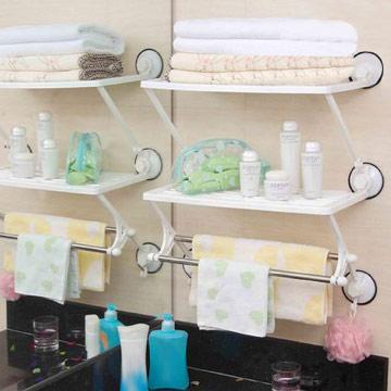 【御工匠】超實用廚房浴室雙層雙桿收納架/毛巾架/置物架(吸盤式)
