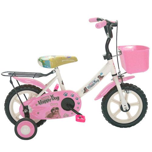 Adagio 12吋酷樂狗輔助輪童車附置物籃-粉色