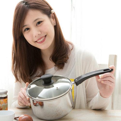 清水 鋼鋼好台製304不鏽鋼單把原味湯鍋 18cm