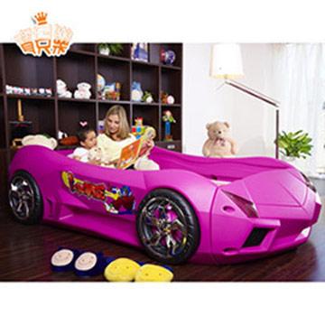寶貝樂 夢幻快車豪華兒童床組附高密度天然乳膠床(大)-粉色
