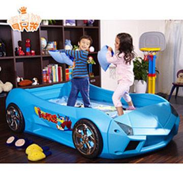 寶貝樂 夢幻快車豪華兒童床組附高密度天然乳膠床墊(大)-藍色