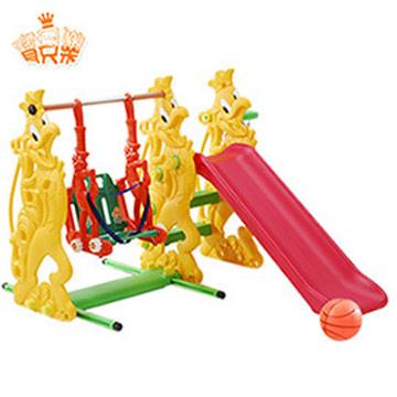 寶貝樂 俏公雞複合式兒童育樂組溜滑梯+鞦韆(附球框.籃球)~台灣生產