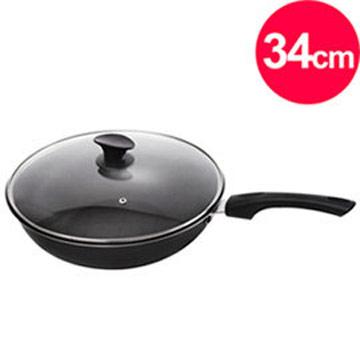 清水 御廚台灣製不沾炒鍋34cm-專利鍋蓋頭