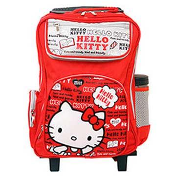 HELLO KITTY 上學三段拉桿書包-紅色