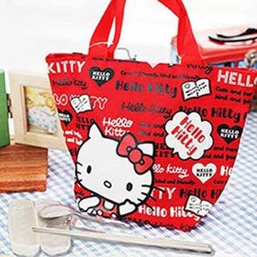 HELLO KITTY 餃形便當袋-紅色+台灣製環保三件式餐具組
