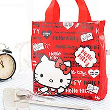 HELLO KITTY 直式便當袋-紅色+台灣製環保三件式餐具組