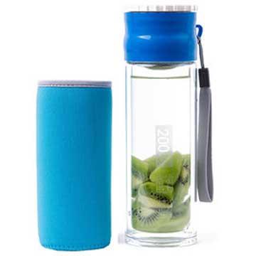 Artist 雙層耐熱附杯套不鏽鋼玻璃泡茶杯/隨身瓶260ml-藍色