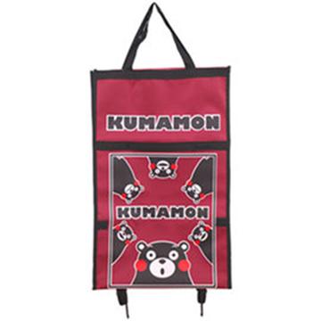 Kumamon酷MA萌 輕便型折疊收納二輪購物車/菜藍車附收納包-紅色