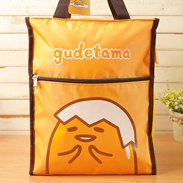 蛋黃哥 直式補習袋/外出袋/側背包+台灣製環保三件式餐具組