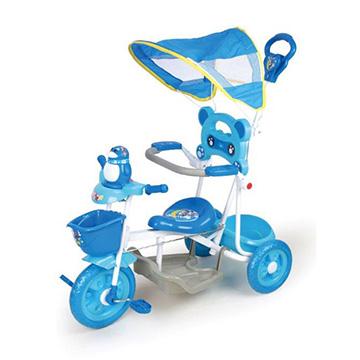 寶貝樂精選 遮陽棚俏皮企鵝音樂三輪車-藍色