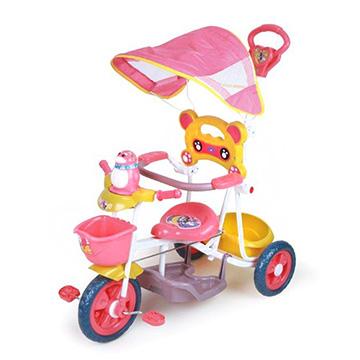 寶貝樂精選 遮陽棚俏皮企鵝音樂三輪車-粉紅