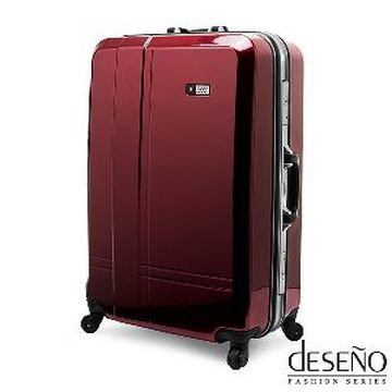 【Deseno】光燦魔力-24吋PC鋁框拉桿行李箱(紅色)
