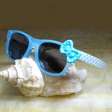 【Hawk eyes】一級光學抗UV400太陽眼鏡-K018b藍色圓點蝴蝶結
