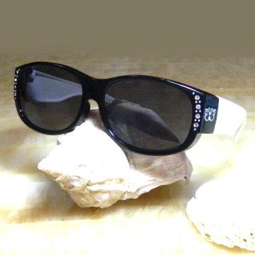 【Hawk eyes】一級光學抗UV400太陽眼鏡-成人套鏡-FOA02b-蝴蝶水鑽