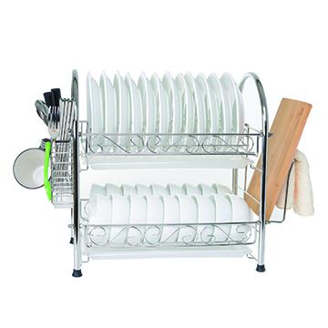 【達人收納】304 不鏽鋼加粗大容量雙層碗盤瀝水架