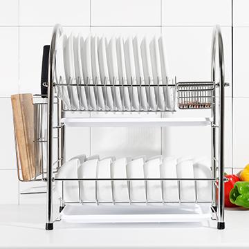 【達人收納】304不鏽鋼加粗大容量雙層碗盤瀝水架(進階款)