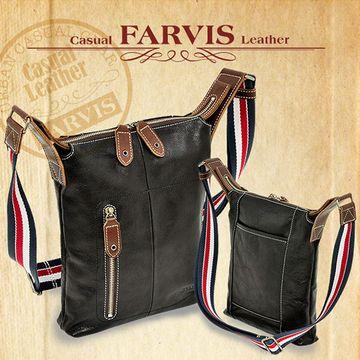 【FARVIS】日本牛皮 斜背包 B5 側背包 輕量 皮革包【3-077】黑色