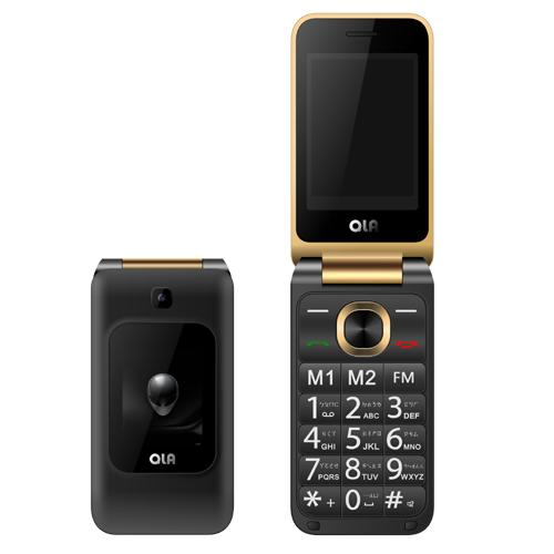 QLA V318 3G雙卡雙待摺疊手機-黑金