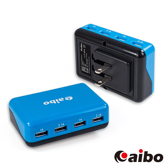 aibo AC 轉 USB 4PORT 方塊充電器 6000mA - 黑藍